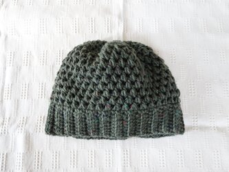 ■受注制作■hand-knit beanie / grass greenの画像