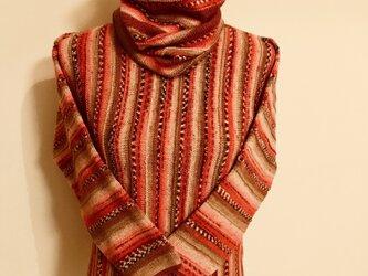 グラデーションカラーのセーター&スヌードの画像