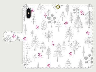 森の木々のイラスト・スマホケース(手帳型)iPhone&Android対応 かわいい北欧調の手描きイラスト♪ 6色バリエーションの画像