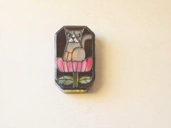 ネコと花 壁掛けランプの画像