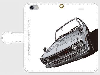 日産スカイラインGT-R(ハコスカ) イラスト スマホケース(手帳型)iPhone&Android対応の画像