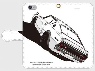 日産スカイラインGT-R(ケンメリ)リア イラスト スマホケース(手帳型)iPhone&Android対応の画像