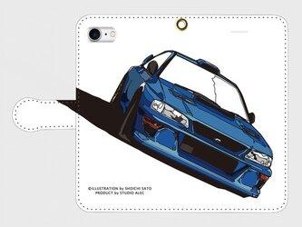 スバル インプレッサ イラスト・スマホケース(手帳型)iPhone&Android対応 4色バリエーション(黒地)の画像