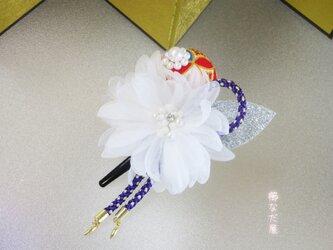 着物 髪飾り オーガンジー花 和装 振袖 ヘアアクセサリー クリップ 入学式 卒業式の画像
