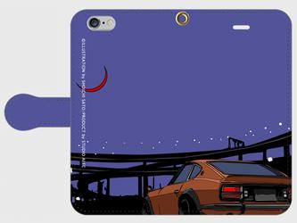 横浜イラスト・スマホケース(手帳型)iPhone&Android各種対応 真夜中の大黒ふ頭パーキングに佇むS30型フィアレディZの画像
