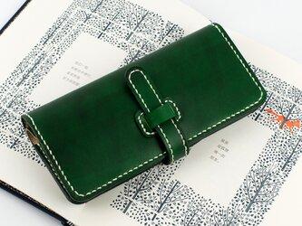 【切線派】牛革手作り手縫い収納長財布の画像