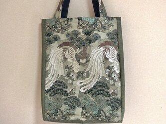 丸帯地トートバッグ・オリーブグリーン 鳳凰柄の画像