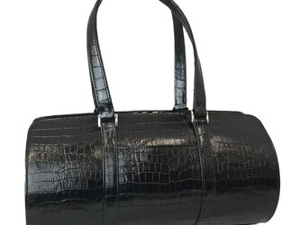 オール牛革 本革バッグ 筒型 クロコ型 ボストンバッグ 軽量 リアルレザー ブラックの画像