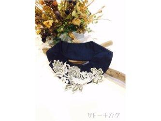 つけ襟☆紺色シャンタン×刺繍レース☆(カーキ&グレーマーブル)   【送料無料】の画像