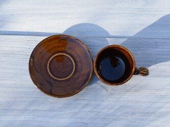 飴釉鉄彩コーヒーカップ&ソーサーの画像