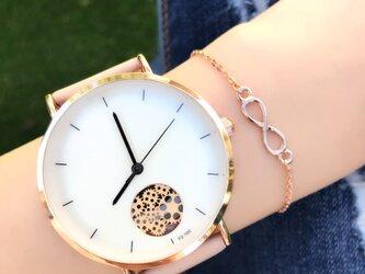 ユニセックス オープンダイヤル腕時計 ピンクゴールド<q-001>の画像