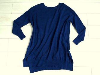 ◆天然灰汁発酵建て 本藍染◆ シルク&オーガニックコットンのチュニックワンピセーターの画像