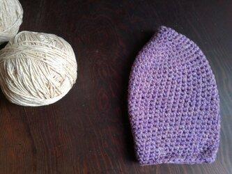 シルクウールの手編帽子の画像