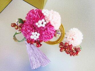 着物 髪飾り 成人式 卒業式 パール花飾り 和装 ヘアコーム 振袖 紫系の画像
