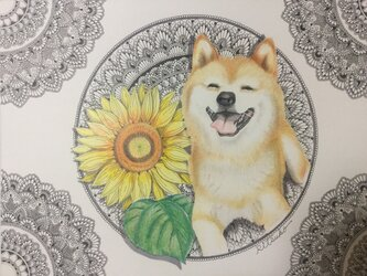 原画 肉筆 一点もの ボールペンアート  柴犬 犬 百貨店作家 人気 ボールペン画 絵画の画像