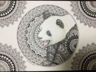 原画 肉筆 一点もの ボールペンアート  パンダ パンダの絵  百貨店作家 人気 ボールペン画 絵画の画像