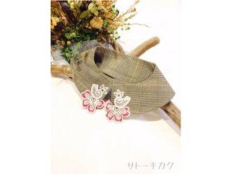 つけ襟☆ グレンチェック×刺繍レース(赤&グレーマーブル) 【送料無料】の画像