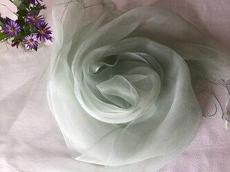 再出品【野紺菊染め】シルクオーガンジーストール 53cm巾 白藍色の画像