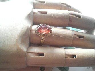 ヴィンテージ コーラルFoil/クラシカルflower指輪の画像