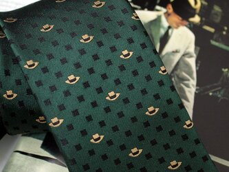 【受注制作】帽子柄ネクタイ・グリーン/オリジナルネクタイの画像