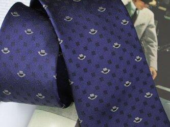 【受注制作】帽子柄ネクタイ・濃紺/新作オリジナルネクタイの画像