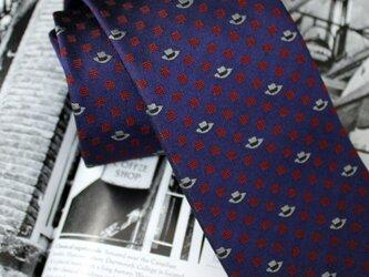 【受注制作】帽子柄ネクタイ・濃紺×赤/オリジナルネクタイの画像