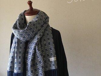 [再販]手織りオーバーショットカシミヤマフラー blueの画像