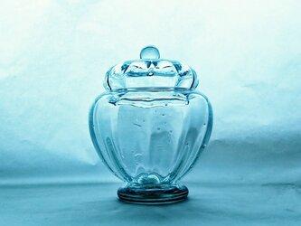 ブリキ色のガラスのボンボン入れの画像