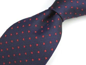 受注制作/ハートのドット柄・濃紺×赤/オリジナル・ハンドメイドネクタイの画像