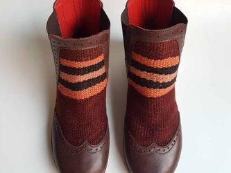 フレンチモロッコ キリム ショートブーツ ストライプ 茶色/   23.5cm~24cm 38の画像
