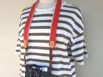 ぶた革*カメラストラップ【赤】全8色*やわらかい使い心地*コンパクト一眼におすすめの画像