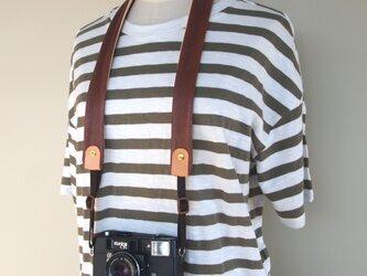 ぶた革*カメラストラップ【茶】全8色*やわらかい使い心地*コンパクト一眼におすすめの画像