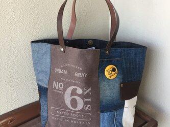 【送料無料】最新作☆デニムコラージュトートバッグ  Mプラスサイズ  number茶革#05の画像