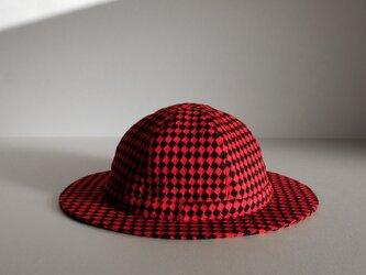 ◆ sale ◆ つばの薄い帽子 - ウール 赤黒 ダイヤ -  <受注制作>の画像