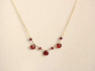 宝石質ガーネットのネックレス【K14gf】の画像