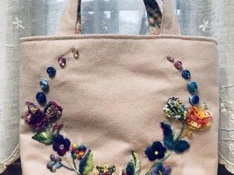 刺繍バッグ 春の訪れの画像