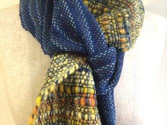 手紡ぎ糸と手織りのマフラー no.3の画像