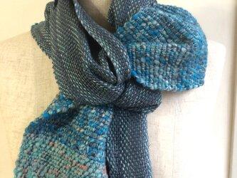 手紡ぎ糸と手織りのマフラー no.4の画像