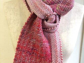 手紡ぎ糸と手織りのマフラー no.5の画像