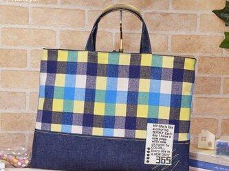 【オーダーサイズ】カラフルチェックのレッスンバッグ:青・赤・オレンジの画像
