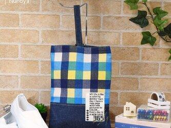 【オーダーサイズ】カラフルチェックのシューズバッグ(上靴袋):青・赤・オレンジの画像