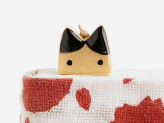 木製ネコしおり  黒耳(ブックマーカー)の画像