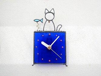 ステンドグラス*掛け&置き時計・猫と魚02の画像