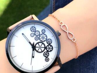 ユニセックス ギアダイヤル腕時計 ピンクゴールド<q-003>の画像