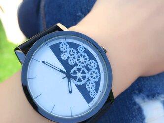 ユニセックス ギアダイヤル腕時計 ブラック<q-004>の画像