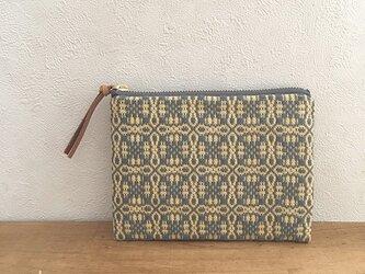 再販pouch[手織りミニポーチ]イエローグレー×グレーファスナーの画像