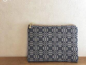 pouch[手織りミニポーチ]ネイビーグレー×ベージュファスナーの画像