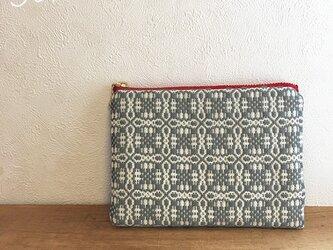 pouch[手織りミニポーチ]グレーホワイト×レッドファスナーの画像