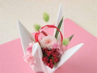 折り鶴アレンジメント(花器ホワイト)【プリザーブドフラワー】【和風アレンジメント お祝い ギフト 】の画像