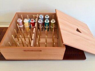ミシン用糸巻き&ボビン立て(糸巻き72pcs用)収納ボックス付きの画像